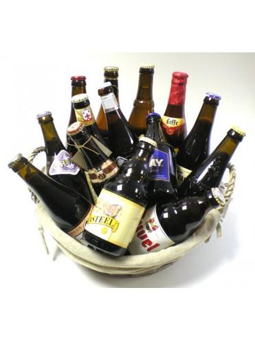 Biermand met Belgische bieren