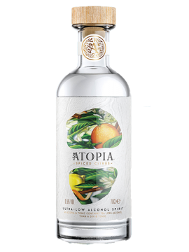 Atopia spiced citrus ultra low alcohol spirit 0,5% 70cl.