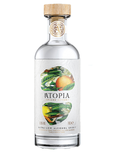 Atopia spiced citrus ultra low alcohol spirit 0,5% 70cl.