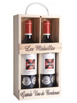 Chateau Moulin Neuf houten kist 2 flessen