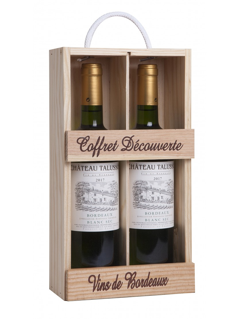Michael Jackson Glazen Kist.Relatiegeschenk Houten Wijnkist Ch Talusson Bordeaux Blanc