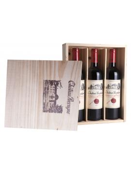 Château Recougne, Bordeaux Supérieur, houten kist 3 flessen