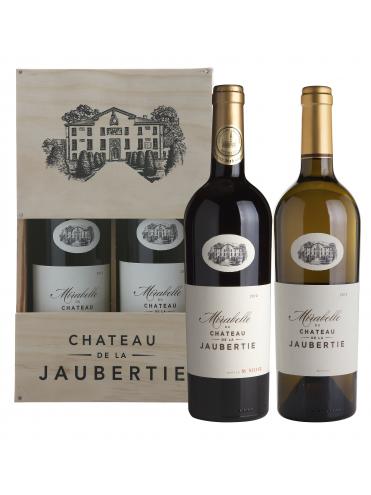 Chateau De La Jaubertie houten kist 2 flessen